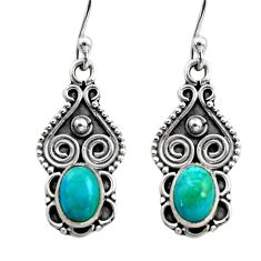 3.03cts natural blue campitos turquoise 925 silver dangle earrings r15798