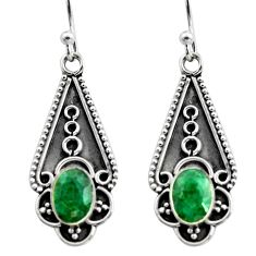3.13cts natural green emerald 925 sterling silver dangle earrings jewelry r15799