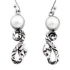 5.63cts natural white pearl 925 sterling silver snake earrings jewelry r15802