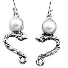 5.12cts natural white pearl 925 sterling silver snake earrings jewelry r15803