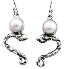 925 sterling silver 5.24cts natural white pearl snake earrings jewelry r15804