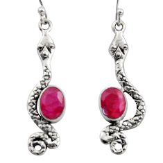 4.70cts natural red ruby 925 sterling silver snake earrings jewelry r15805