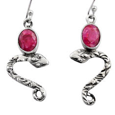 4.08cts natural red ruby 925 sterling silver snake earrings jewelry r15806