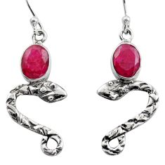 4.23cts natural red ruby 925 sterling silver snake earrings jewelry r15807