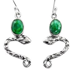 925 sterling silver 4.08cts natural green emerald snake earrings jewelry r15808