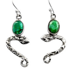 4.08cts natural green emerald 925 sterling silver snake earrings jewelry r15809
