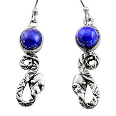 925 sterling silver 5.63cts natural blue lapis lazuli snake earrings r15812