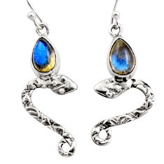 5.11cts natural blue labradorite 925 sterling silver snake earrings r15813