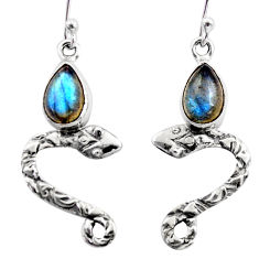 5.38cts natural blue labradorite 925 sterling silver snake earrings r15814