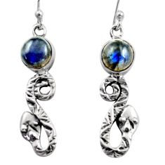 5.63cts natural blue labradorite 925 sterling silver snake earrings r15815