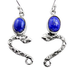 925 sterling silver 5.87cts natural blue lapis lazuli snake earrings r15816