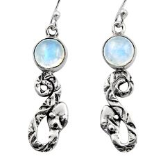 5.36cts natural rainbow moonstone 925 sterling silver snake earrings r15817