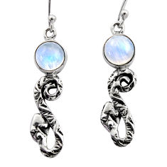 5.39cts natural rainbow moonstone 925 sterling silver snake earrings r15818