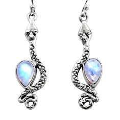 4.70cts natural rainbow moonstone 925 sterling silver snake earrings r15820