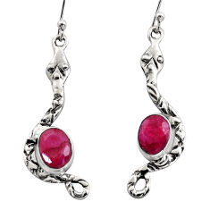 4.26cts natural red ruby 925 sterling silver snake earrings jewelry r15822