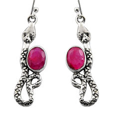 4.69cts natural red ruby 925 sterling silver snake earrings jewelry r15823