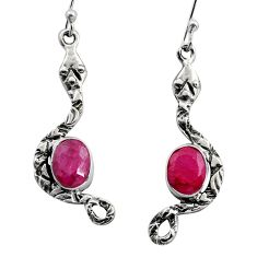 925 sterling silver 4.47cts natural red ruby snake earrings jewelry r15824