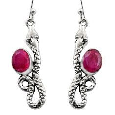 4.69cts natural red ruby 925 sterling silver snake earrings jewelry r15825