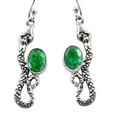 4.47cts natural green emerald 925 sterling silver snake earrings jewelry r15826