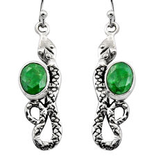 4.47cts natural green emerald 925 sterling silver snake earrings jewelry r15827