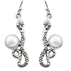 925 sterling silver 5.38cts natural white pearl snake earrings jewelry r15828