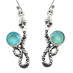 5.11cts natural aqua chalcedony 925 sterling silver snake earrings r15830