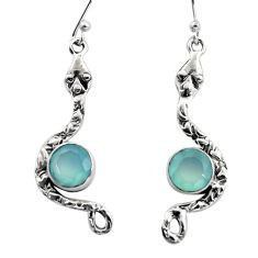 925 sterling silver 4.84cts natural aqua chalcedony snake earrings r15831