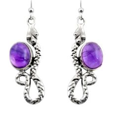 6.04cts natural purple amethyst 925 sterling silver snake earrings r15832
