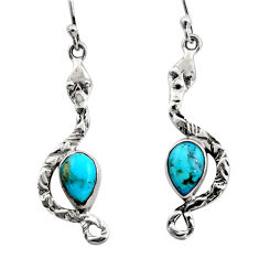 4.82cts blue arizona mohave turquoise 925 sterling silver snake earrings r15834