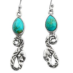 925 sterling silver 4.69cts blue arizona mohave turquoise snake earrings r15835