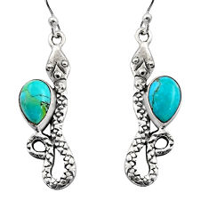 4.69cts blue arizona mohave turquoise 925 sterling silver snake earrings r15836