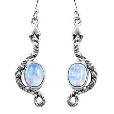 6.36cts natural rainbow moonstone 925 sterling silver snake earrings r15837
