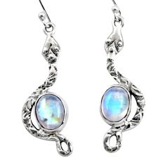6.10cts natural rainbow moonstone 925 sterling silver snake earrings r15838