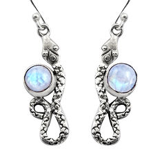 925 sterling silver 5.11cts natural rainbow moonstone snake earrings r15839
