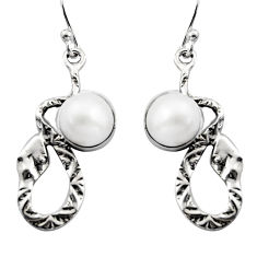 5.63cts natural white pearl 925 sterling silver snake earrings jewelry r15841