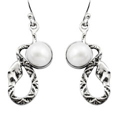 5.62cts natural white pearl 925 sterling silver snake earrings jewelry r15842