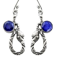 925 sterling silver 4.42cts natural blue sapphire snake earrings jewelry r15843