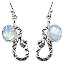 6.02cts natural rainbow moonstone 925 sterling silver snake earrings r15845