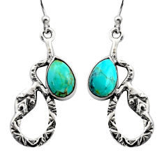 925 sterling silver 4.93cts blue arizona mohave turquoise snake earrings r15847