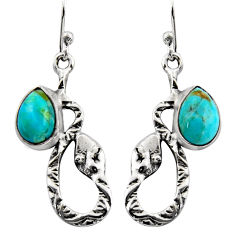 4.69cts blue arizona mohave turquoise 925 sterling silver snake earrings r15848
