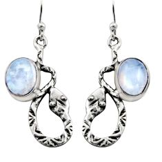 6.02cts natural rainbow moonstone 925 sterling silver snake earrings r15850