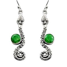 925 sterling silver 3.62cts natural green emerald snake earrings jewelry r15851