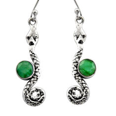 3.83cts natural green emerald 925 sterling silver snake earrings jewelry r15852