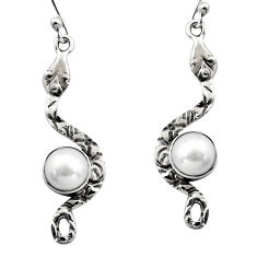 5.10cts natural white pearl 925 sterling silver snake earrings jewelry r15853