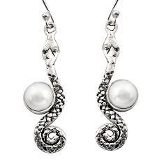925 sterling silver 5.62cts natural white pearl snake earrings jewelry r15854