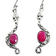 4.46cts natural red ruby 925 sterling silver snake earrings jewelry r15855