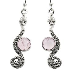 5.38cts natural pink rose quartz 925 sterling silver snake earrings r15857