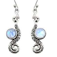 925 sterling silver 5.38cts natural rainbow moonstone snake earrings r15858