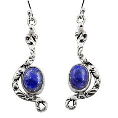 6.10cts natural blue lapis lazuli 925 sterling silver snake earrings r15859