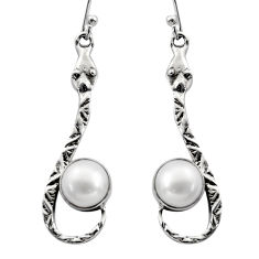 5.38cts natural white pearl 925 sterling silver snake earrings jewelry r15861